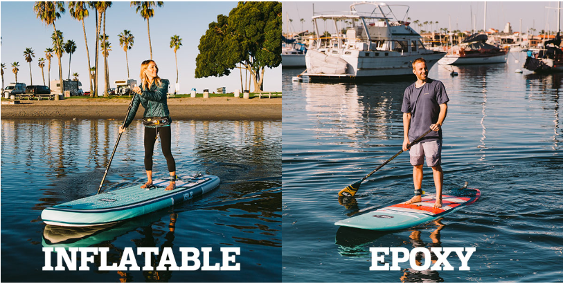 A woman on an inflatable paddle board. A man on an epoxy paddle board.