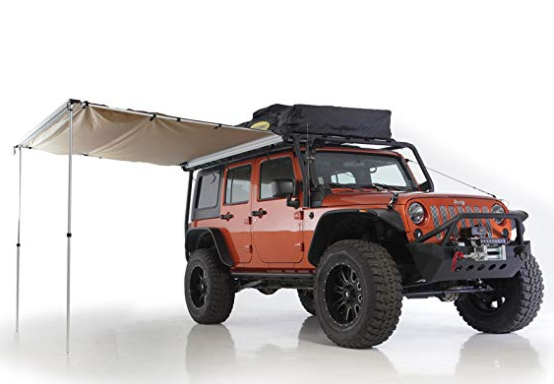 An awning that attaches to your Jeep to create a shaded area. It's a must have beach accessory for the summer.