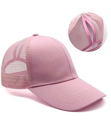 A baseball cap with a hole above the typical baseball cap hole, used for high ponytails and buns. It's a must have beach accessory
