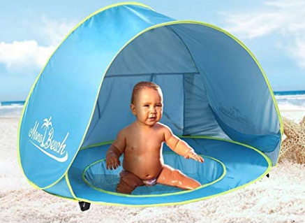 An infant pop-up pool for the beach with detachable shade. It's a must-have beach accessory for infants and toddlers.