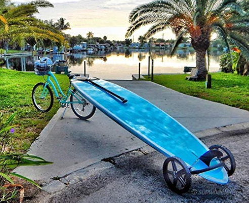 Cart that attaches to your bike so you can tow your paddle board.