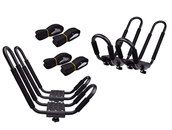 Paddle board roof rack kit with extra ropes to tie down your SUP